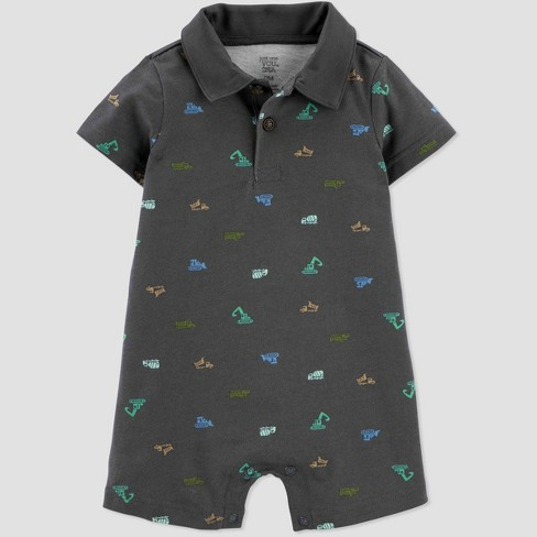 Baby Boys' Construction Romper - Just One You® made by carter's Gray - image 1 of 1