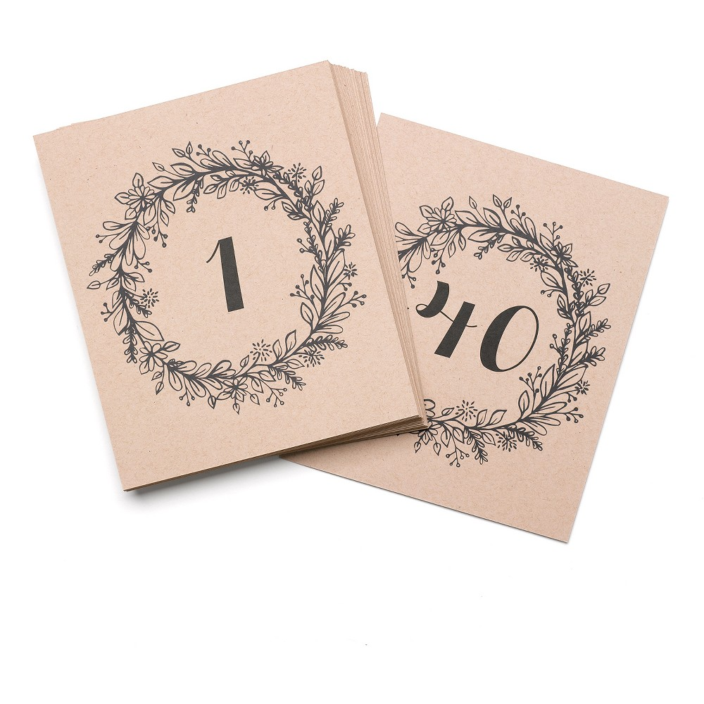 40ct Rustic Wreath Table Number Cards, Black