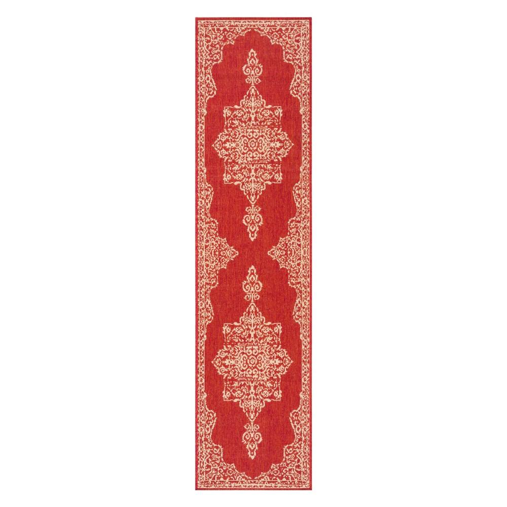 2'X8' Medallion Loomed Runner Red/Cream (Red/Ivory) - Safavieh