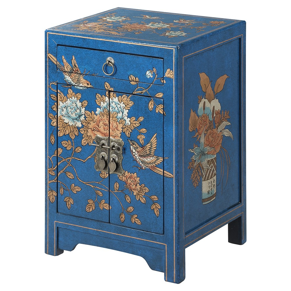 Touch of Asia 1 Drawer Cabinet End Table - Blue - Convenience Concepts