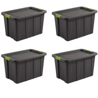 Sterilite Tuff1 Latching 30 Gallon Plastic Storage Tote Container & Lid (4 Pack)