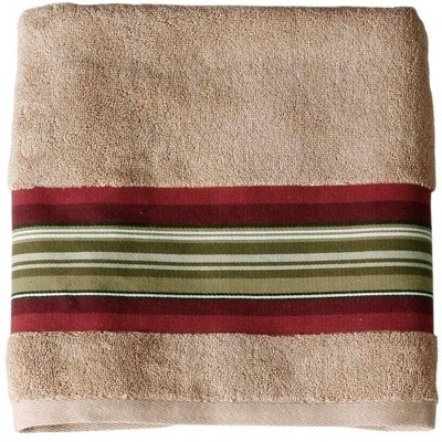 Saturday Knight Ltd Madison Stripe High Quality & Ultra-Durable Woven Bath Towel For Everyday Use 25x50-in, Red