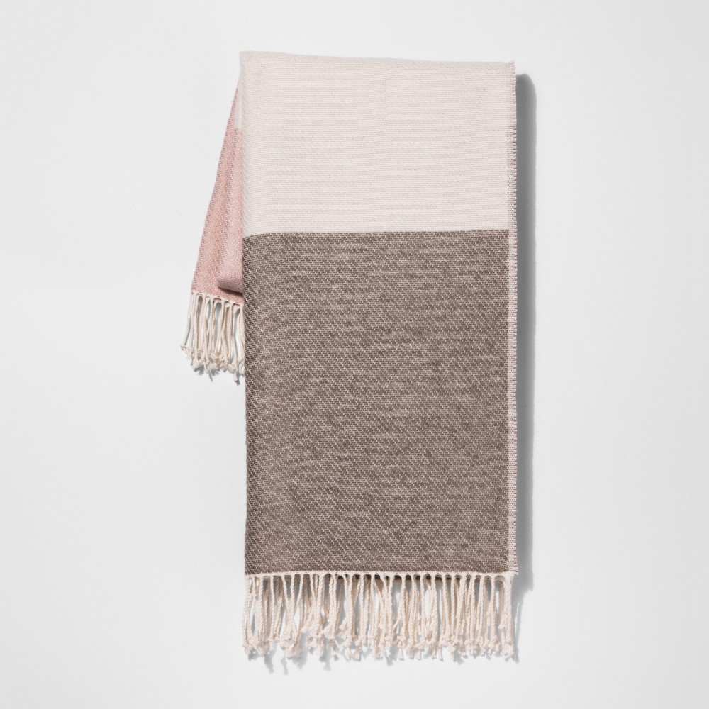Pink Color Block Throw Blankets 50