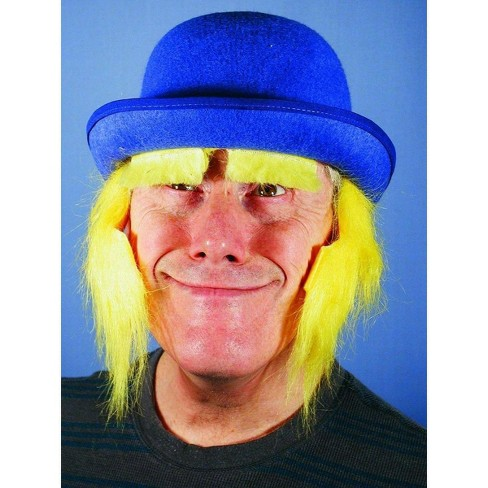 HMS Blue Clown Costume Derby Hat With Yellow Sideburns - image 1 of 1