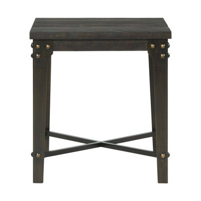 Cera Square End Table with USB Dark Brown - Picket House Furnishings