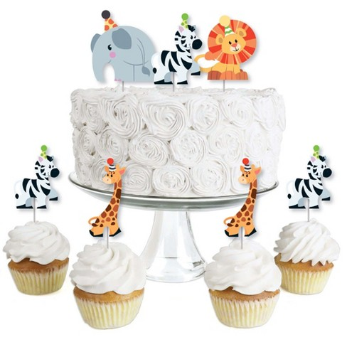 Big Dot of Happiness Jungle Party Animals - Dessert Cupcake Toppers - Safari Zoo Animal Birthday Party or Baby Shower Clear Treat Picks - Set of 24 - image 1 of 4