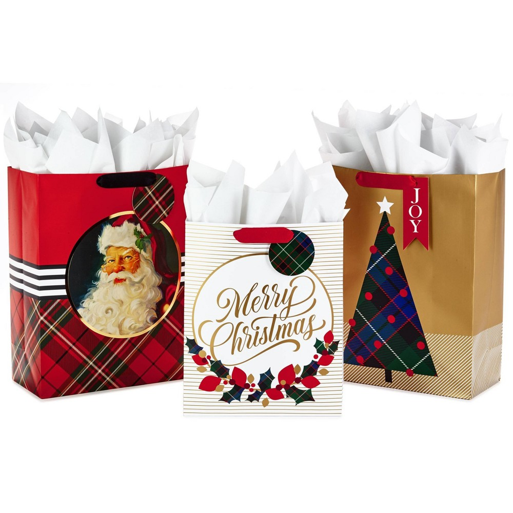 Image of 3ct Hallmark Classic Assorted Gift Bag Set with Tissue Paper
