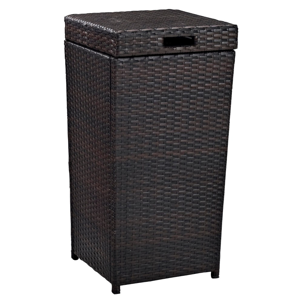 Image of Stainless Steel Palm Harbor Outdoor Wicker Trash Bin - Crosley - Brown