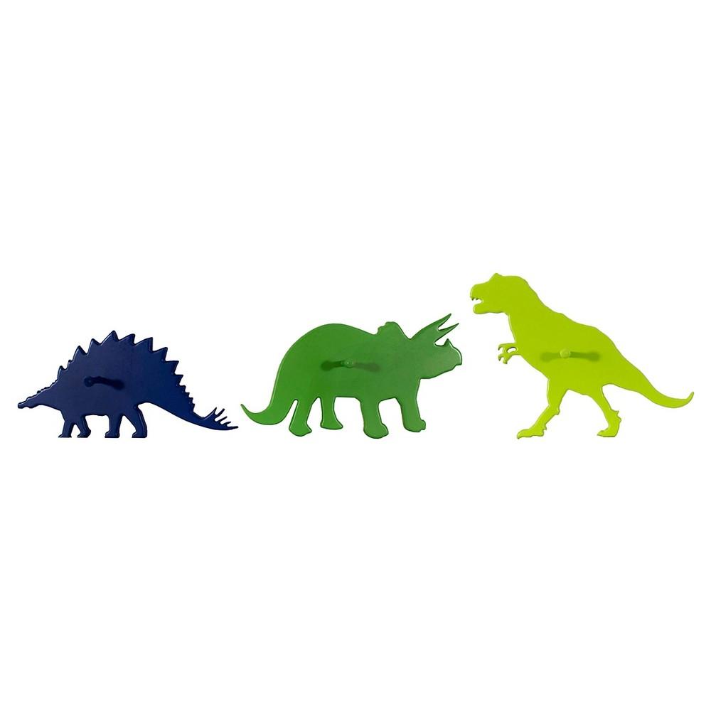 3 Pack Dinosaur Hooks - Pillowfort, Garden Green/Blue Overalls/Lime Cooler