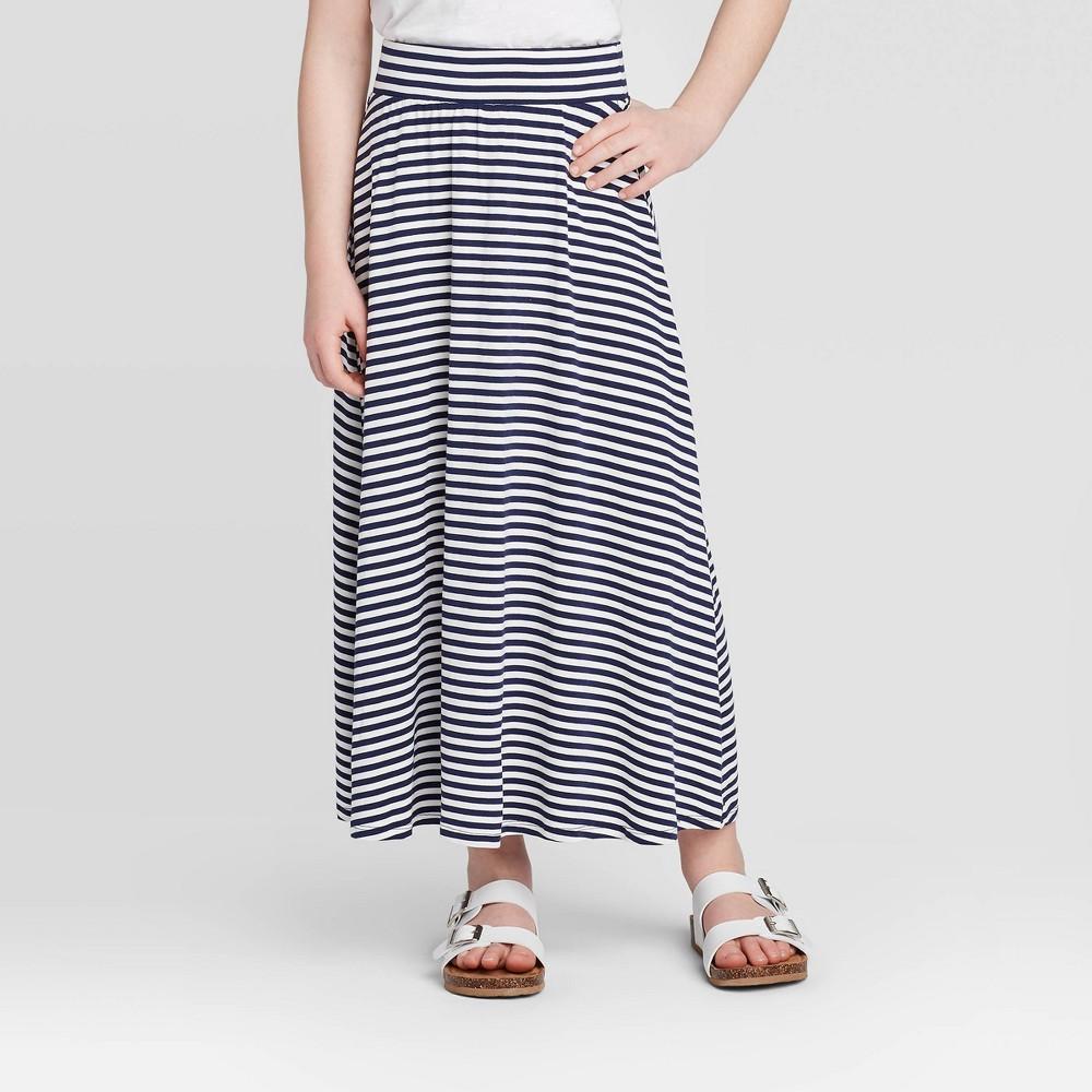 Image of Girls' Stripe Maxi Skirt - Cat & Jack Navy L, Girl's, Size: Large, Blue