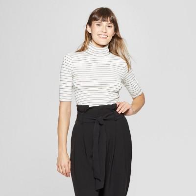 Women's Striped Elbow Sleeve Turtleneck - A New Day™ Cream/Black XS