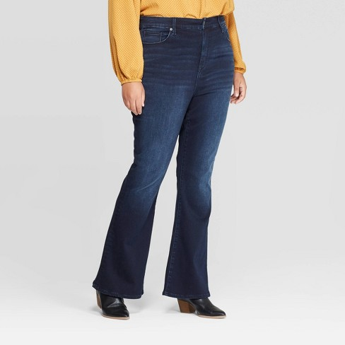 Women's Plus Size High-Rise Flared Jeans - Universal Thread™ Dark Wash - image 1 of 3