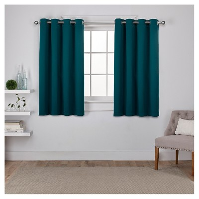 """Set of 2 Sateen Twill Weave Insulated Blackout Grommet Top Window Curtain Panels Teal (52 X 96"""")- Exclusive Home"""