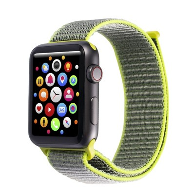Insten Soft Woven Nylon Band for Apple Watch 42mm 44mm All Series SE 6 5 4 3 2 1, For Women Men Girls Boys Replacement Strap, Bright Yellow