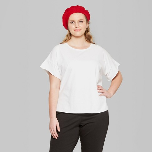 7b9892fccd2 Women s Plus Size Short Sleeve Oversized T-Shirt - Wild Fable™ White    Target