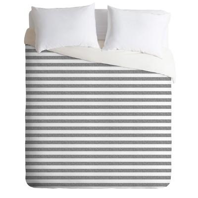King Little Arrow Design Co Stripes in Gray Duvet Cover Set Black - Deny Designs