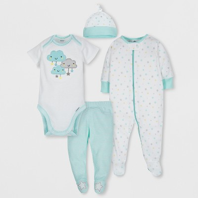 Gerber Baby 4pc Short Sleeve Bodysuit, Long Sleeve Sleeper Pants and Cap Set - Gray/Aqua 0-3M