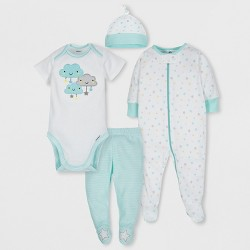 Gerber Baby 4pc Short Sleeve Bodysuit, Long Sleeve Sleeper Pants and Cap Set - Gray/Aqua Newborn