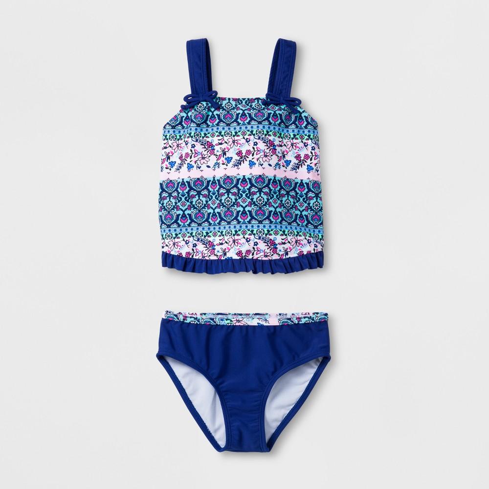 Malibu Dream Girl Girls' Floral Avenue 2pc Tankini Set - 5, Multicolored
