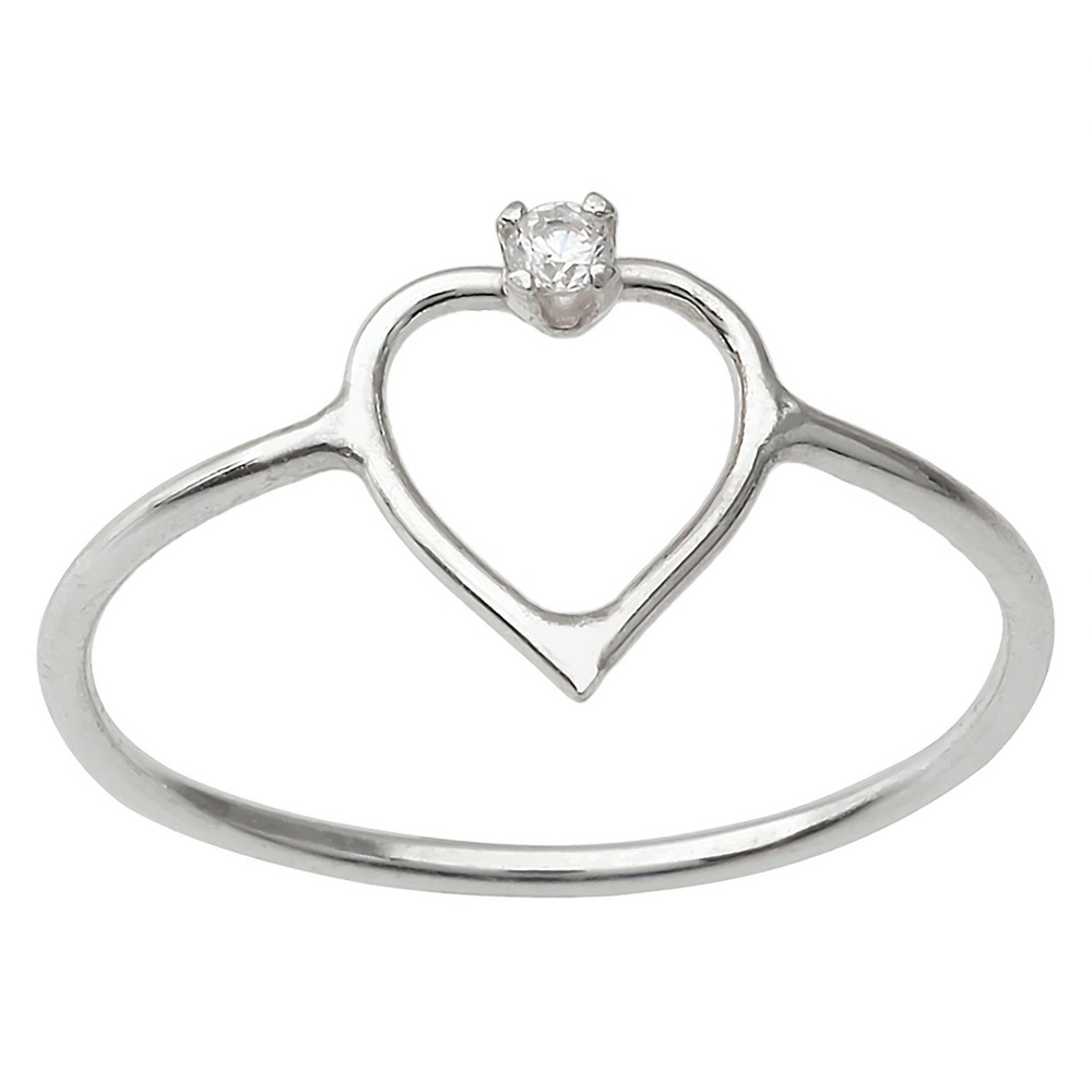 1/10 CT. T.W. Round-cut Cubic Zirconia Cut-out Heart Basket Set Ring in Sterling Silver - Silver, 8, Girl's