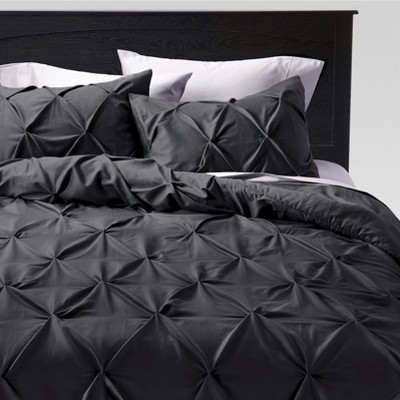 Full/Queen 3pc Pinched Pleat Comforter Set Dark Gray - Threshold™