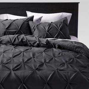 Full/Queen 3pc Pinched Pleat Comforter Set Dark Gray - Threshold