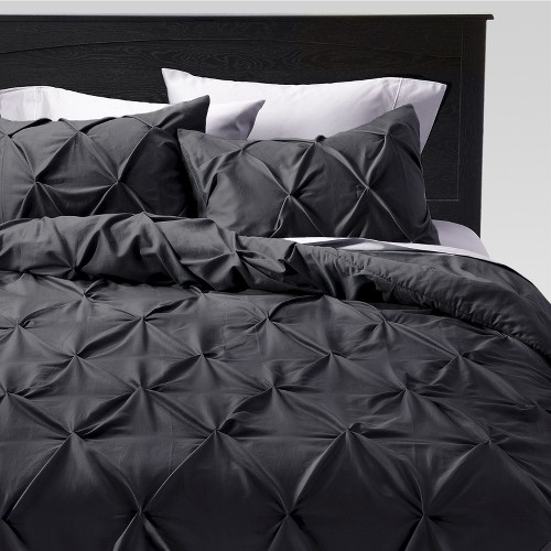 King 3pc Pinched Pleat Comforter Set Dark Gray - Threshold