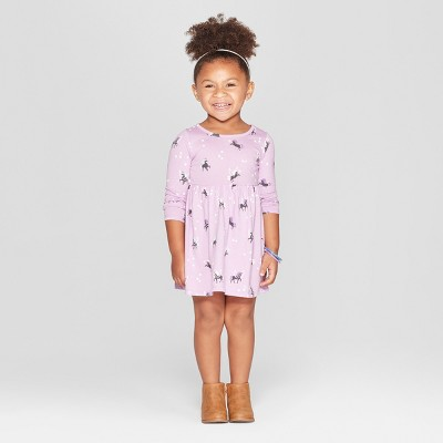 Toddler Girls' Unicorn All Over Print A-Line Dress - Cat & Jack™ Purple 12M