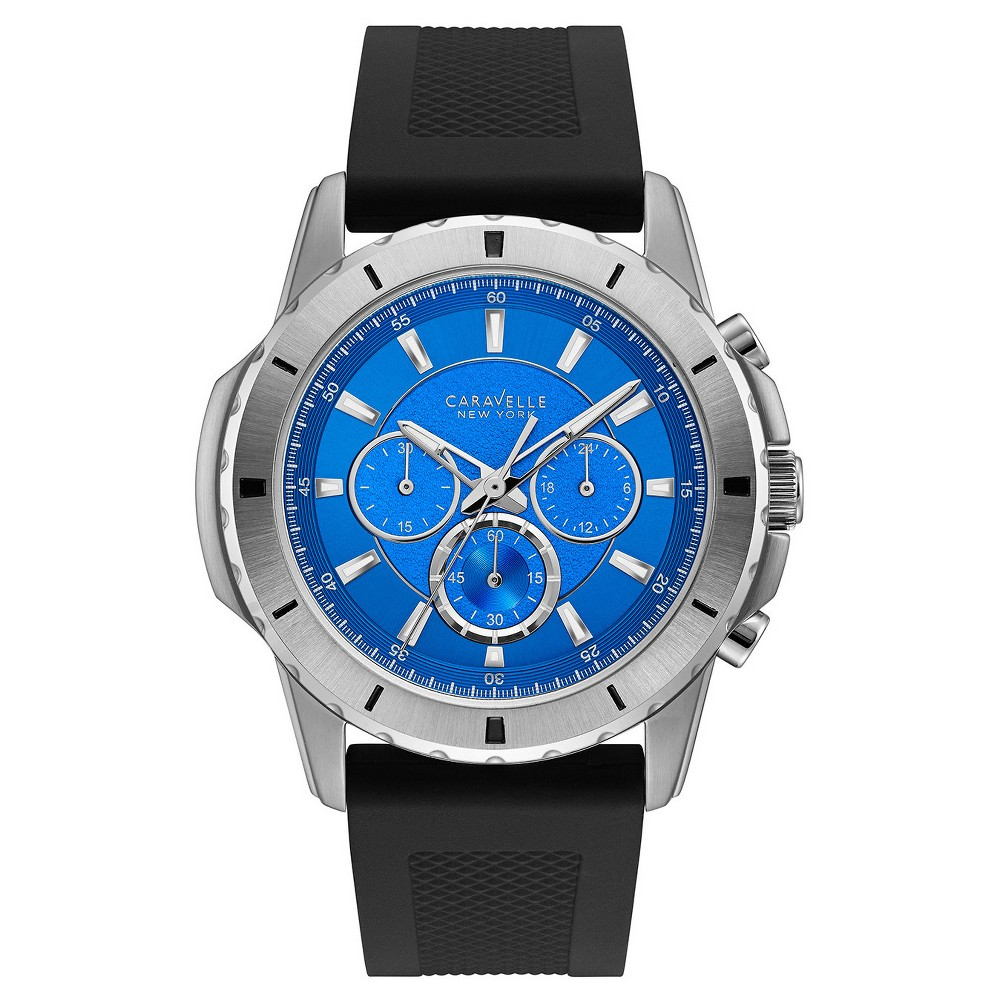 Image of Men's Caravelle New York Chronograph Watch - Black, Size: Small, Silver Blue Black