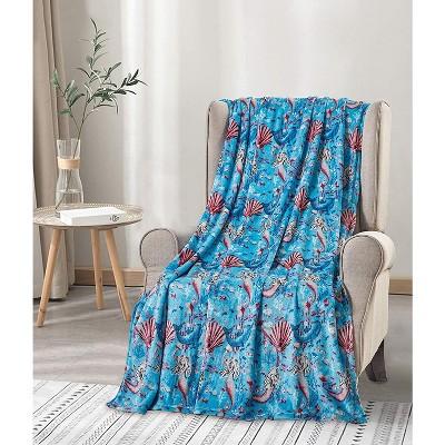 "Extra Plush and Comfy Microplush Throw Blanket (50"" x 60"") Mermaid Paradise"