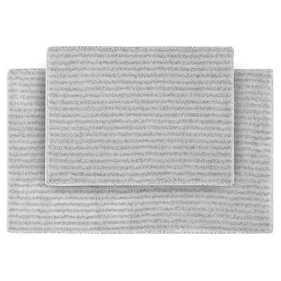 2pc Sheridan Plush Washable Nylon Bath Rug Set Platinum Gray - Garland