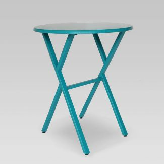 Taro Iron Patio Bistro Table Teal - Christopher Knight Home