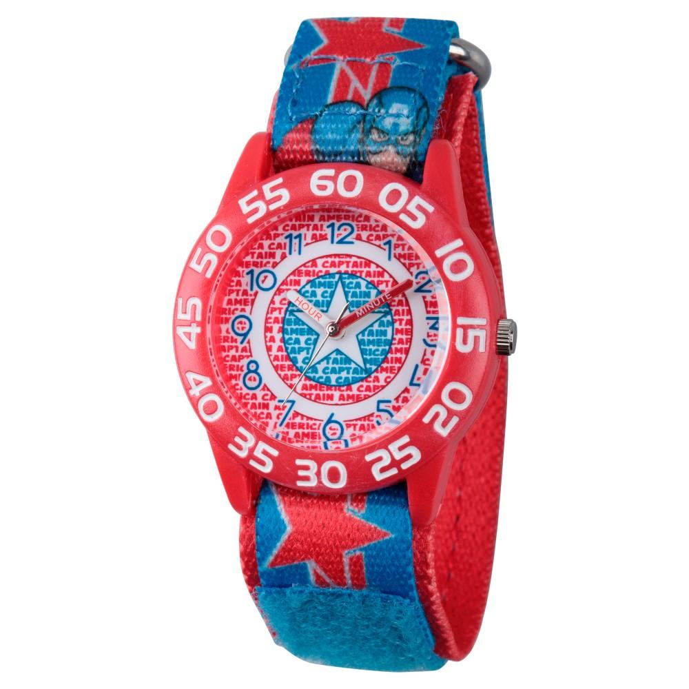 Boys' Marvel's Avengers Assemble Captain America Red Plastic Time Teacher Watch - Multi, Multi-Colored