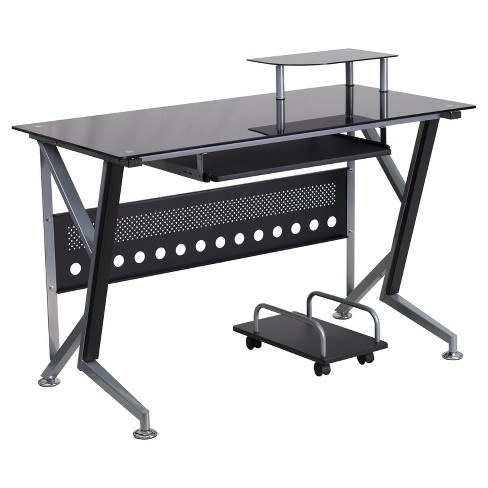 Glass Computer Desk With Pull Out Keyboard Tray And Cpu Cart Black Top Silver Frame Riverstone Furniture Collection