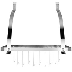 Sorbus Wall Mount Pot Rack with Hooks - Chrome