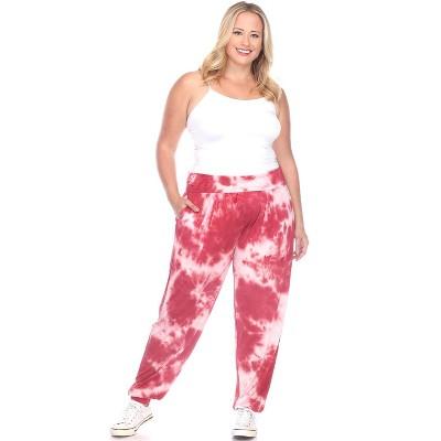 Women's Plus Size Tie Dye Harem Pants - White Mark