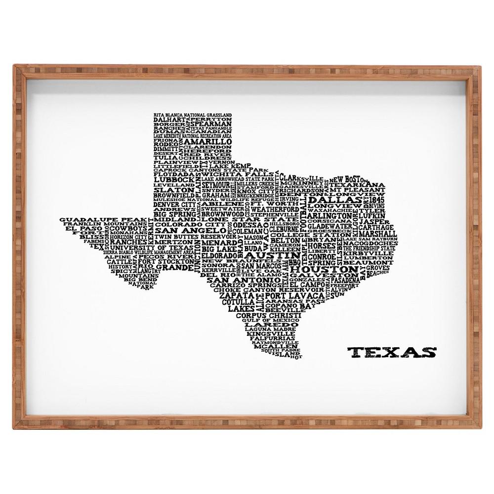 Restudio Designs Texas Map Rectangle Tray - Orange - Deny Designs, Black