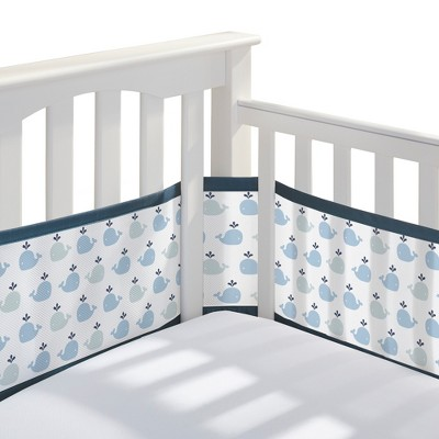 BreathableBaby® Mesh Crib Liner - Little Whale - Navy