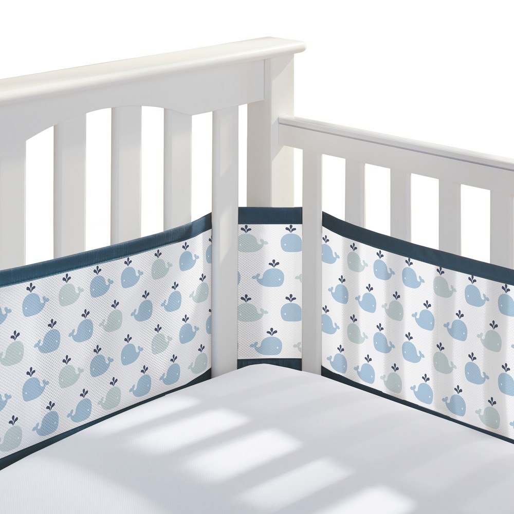 BreathableBaby Mesh Crib Liner - Little Whale - Navy, Little Whale Navy