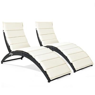 Costway 2PCS Folding Patio Rattan Lounge Chair Chaise Cushioned Portable Garden Black