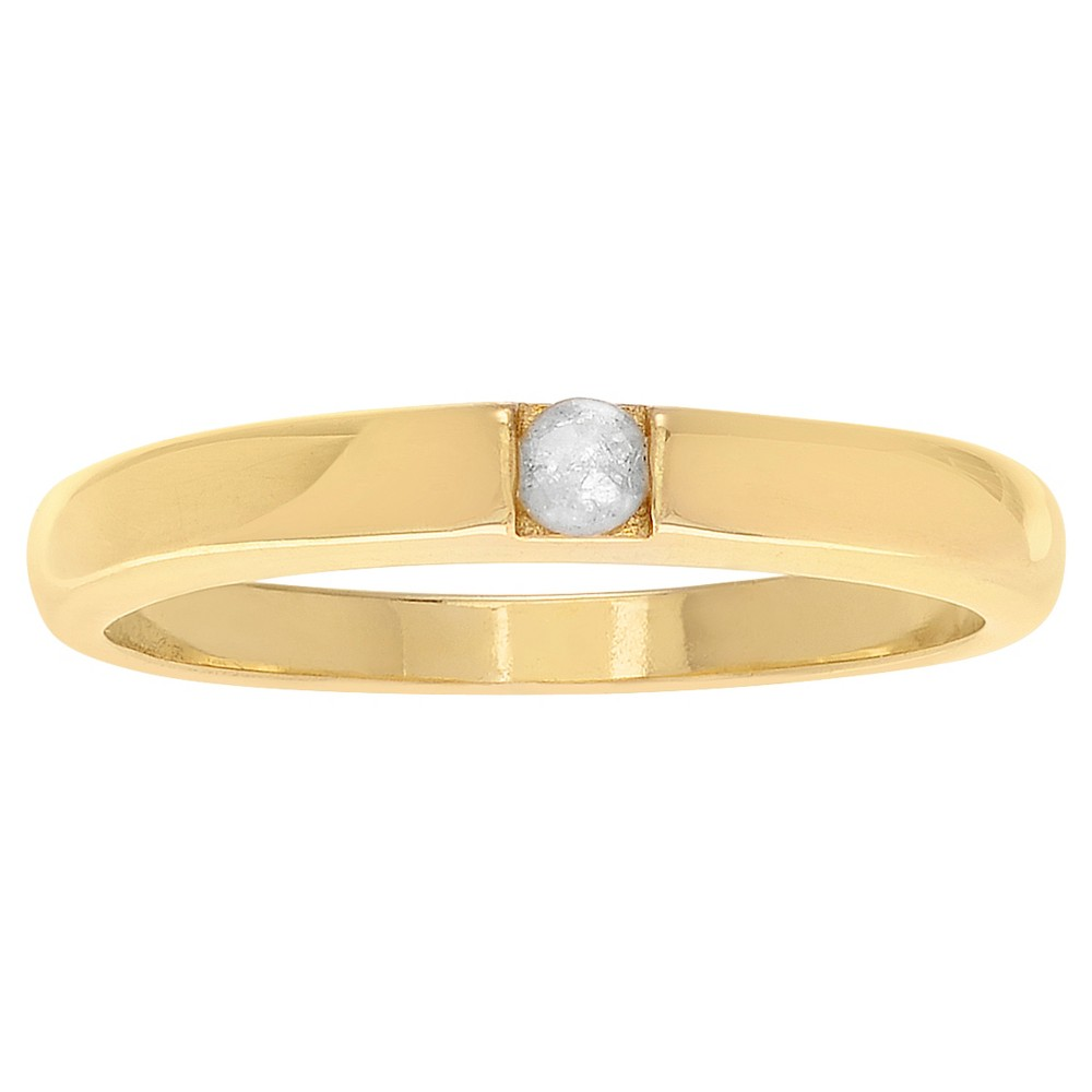 1/10 CT. T.W. Round-Cut Diamond Pave Set Polished Ring in Sterling Silver - Gold, 7, Girl's
