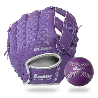 "Franklin Sports 9.5"" Purple/Silver Mesh Batting Glove With Ball - Left Hand Thrower"