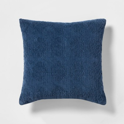 Stonewashed Chenille Square Throw Pillow Blue - Threshold™