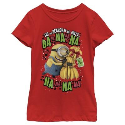 Girl's Despicable Me Christmas Carols Minons Banana T-Shirt