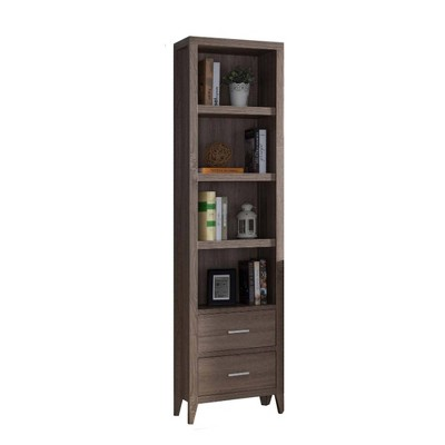 Wooden Media Tower with Four Open Shelves and Two Drawers Brown - Benzara
