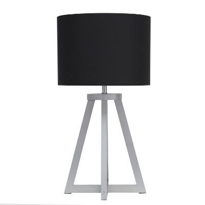 Wood Interlocked Triangular Table Lamp with Fabric Shade Black - Simple Designs
