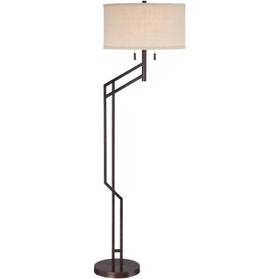 Possini Euro Design Modern Industrial Floor Lamp Angular Bronze Burlap Drum Shade for Living Room Reading Bedroom Office