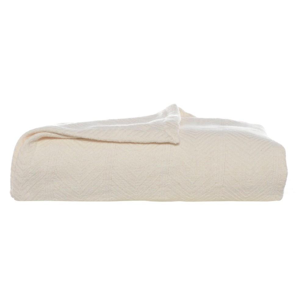 Image of Eddie Bauer Herringbone Cotton Blanket - Bone (Ivory) (Full/Queen)
