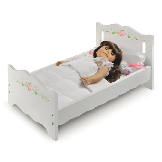 Badger Basket Doll Bed with Bedding and Free Personalization Kit - White Rose image number null