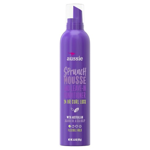 Aussie Sprunch Mousse Leave In Conditioner With Jojoba Sea Kelp For Curly Hair 6 8oz